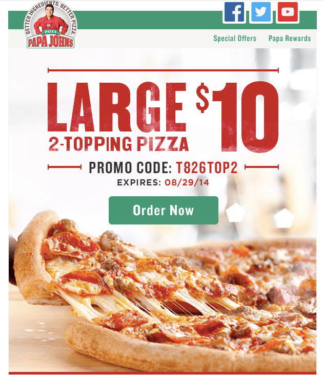 Papa Johns Promotional Email Example