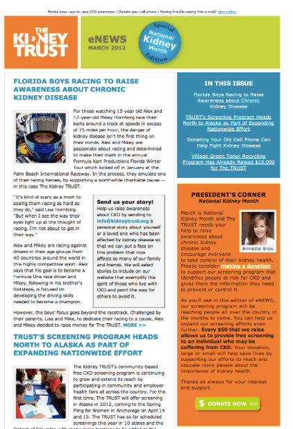 The Kidney Trust Newletter Format