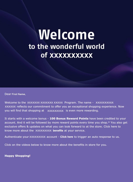 Old Welcome Email Campaign