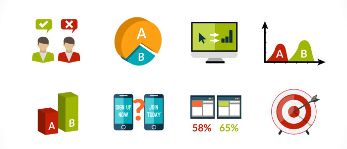A-b testing seo sample comparison research icons set isolated  illustration