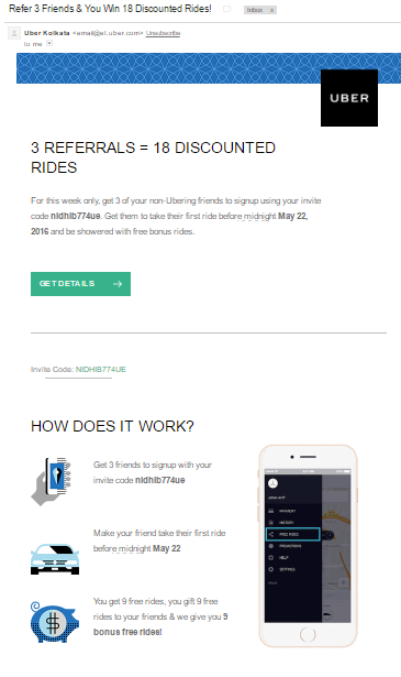 Uber's Referral Email Program