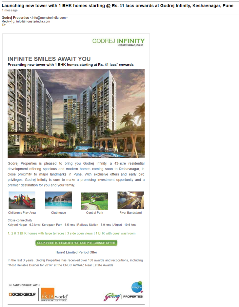 Godrej Properties Email Example