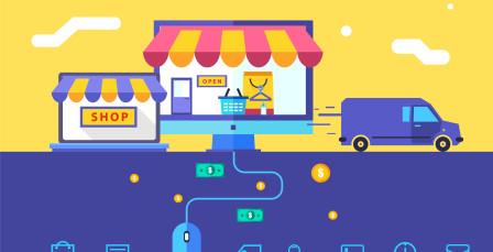 Flat design vector illustration concept of online shop. Eps 10