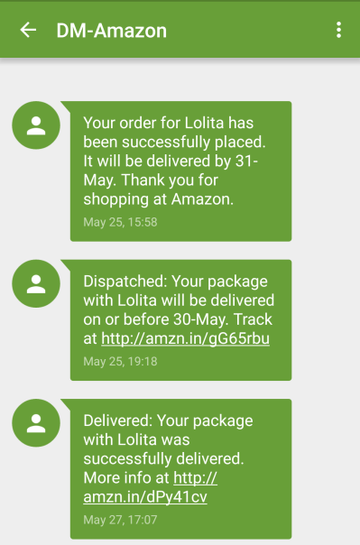 Update on a Product/Order Status SMS