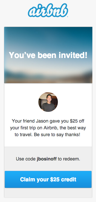 Airbnb Referral Reward Email