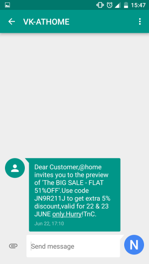 @home India Coupons and Orders SMS