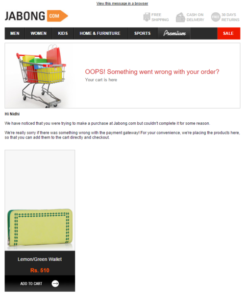 Jabong Cart Abandonment Email Example