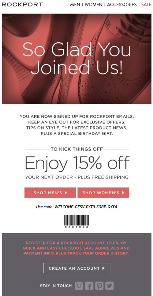 Rockport Welome Email Example