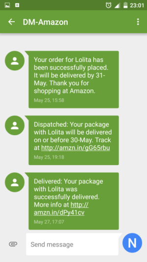 Amazon product arrivals and text alerts SMS