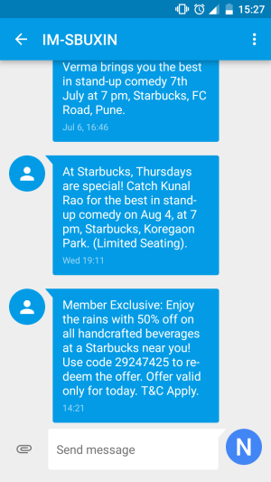 Starbucks India SMS Marketing