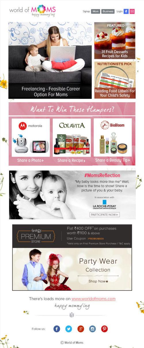 World of Moms Newsletter Example