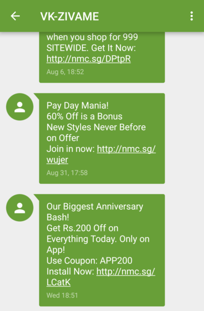 Zivame SMS Marketing Campaign Example