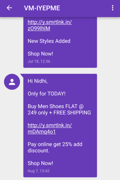 SMS Marketing Campaign Example