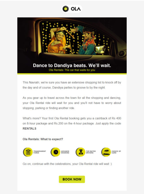 OLA Email Marketing Example