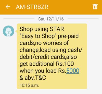 Star Bazaar SMS Campaign
