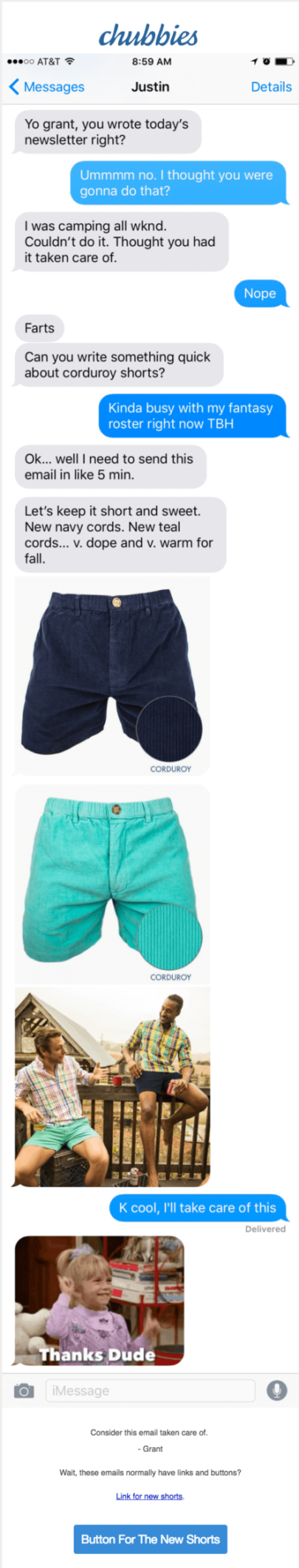 Chubbies Short Email Marketing Example