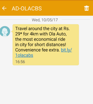 Ola cabs sms offer point 4