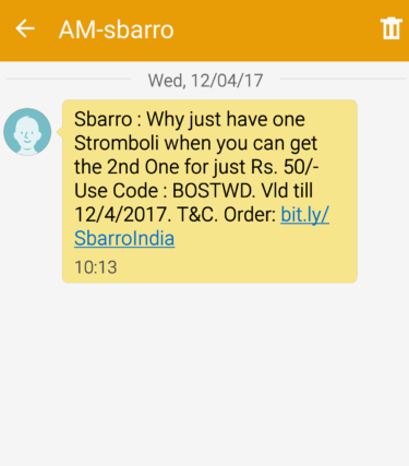 sbarro sms offer point 2