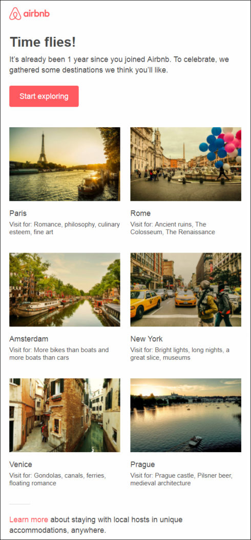Airbnb's Email Personalization Example