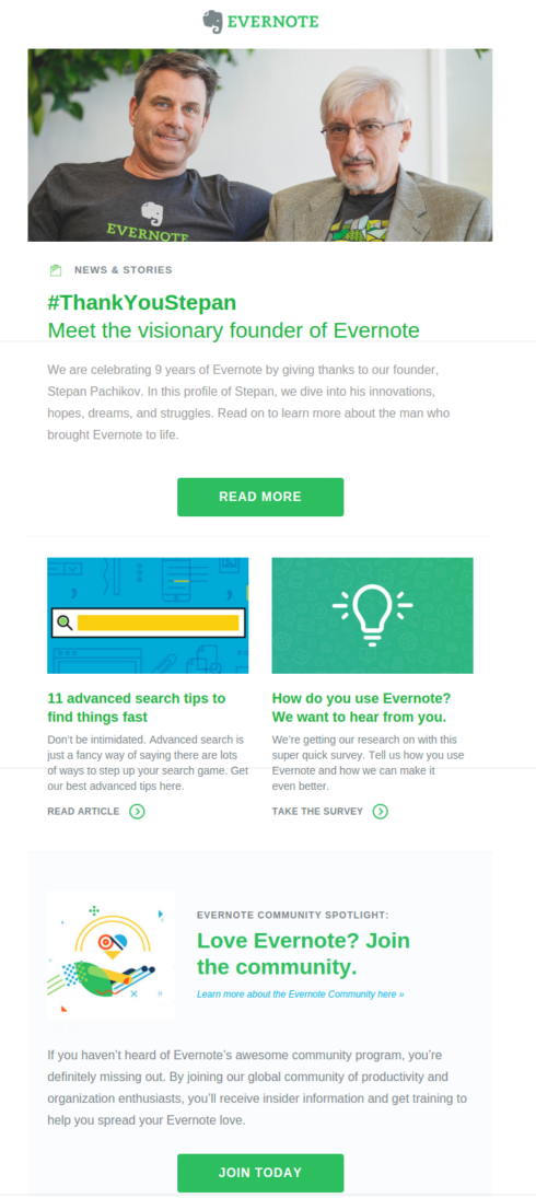 Evernote's Storytelling Email Example