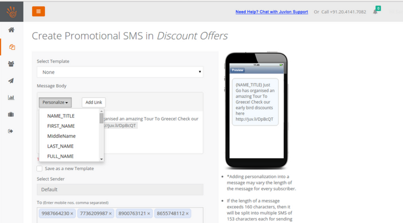Targeted personalized SMS campaigns