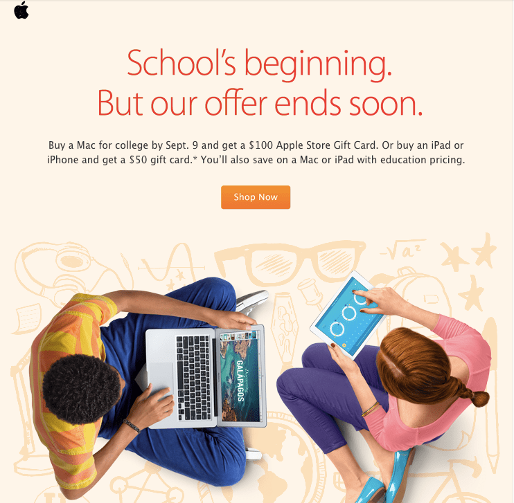 Apple  Promotional Email Example
