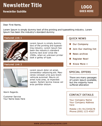 Newsletter Brown Theme