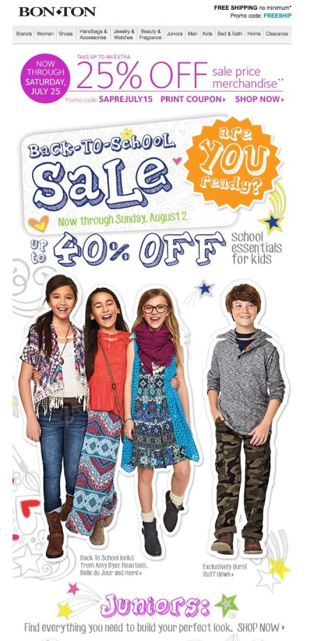 End-of-Summer or Back-to-School Sales Emails