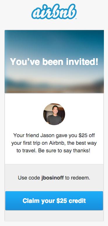 Airbnb Referral Reward Email