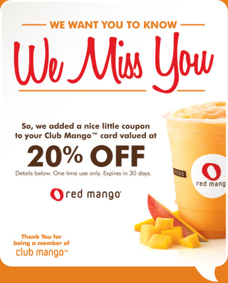 Red Mango Customer Re-engagement Email