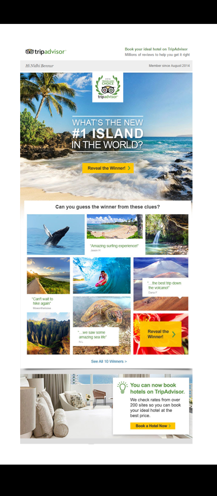 Email marketing strategies by TripAdvisor