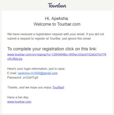 Tourbar Welcome Email