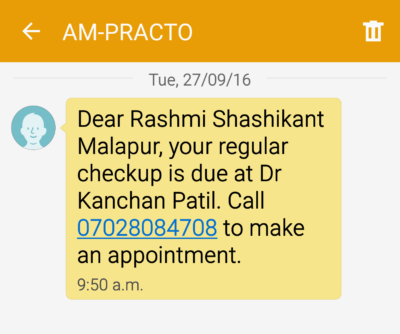 Practo SMS Campaign