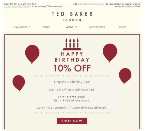 TED Baker Birthday Email Example