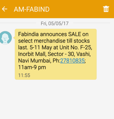 fab India sms offer point 5