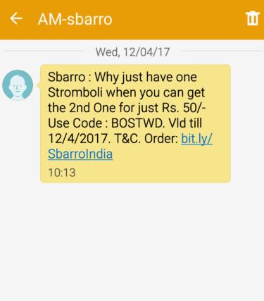 sbarro sms offer point 2
