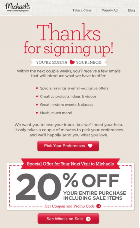 Michael's Promotional Marketing Email Example