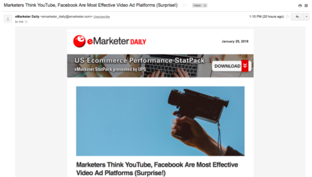 eMarketer Email Newsletter Example