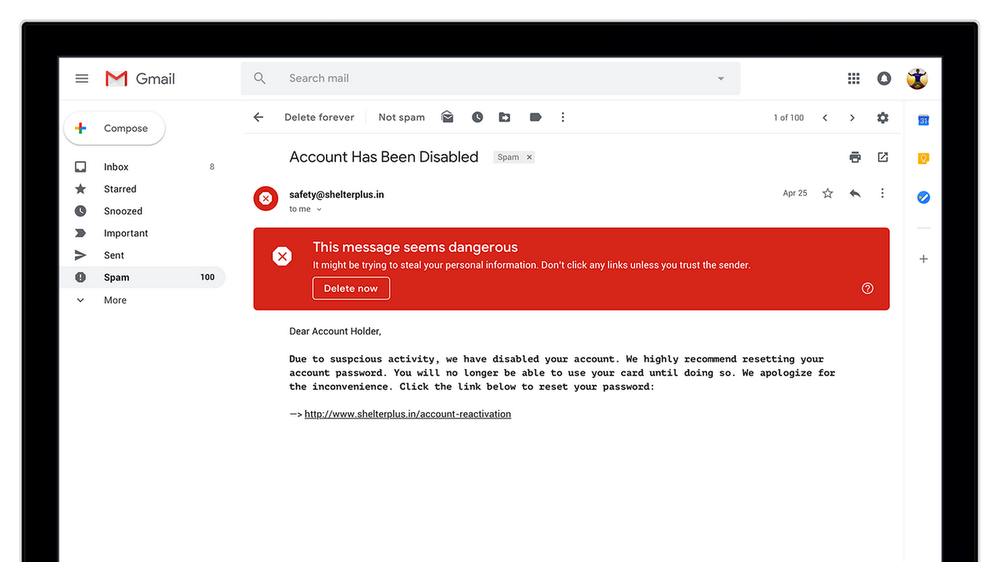 Security warning in new gmail