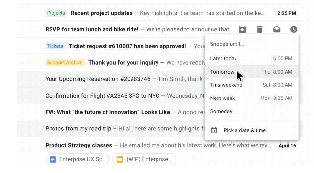 Snooze Feature In New Gmail