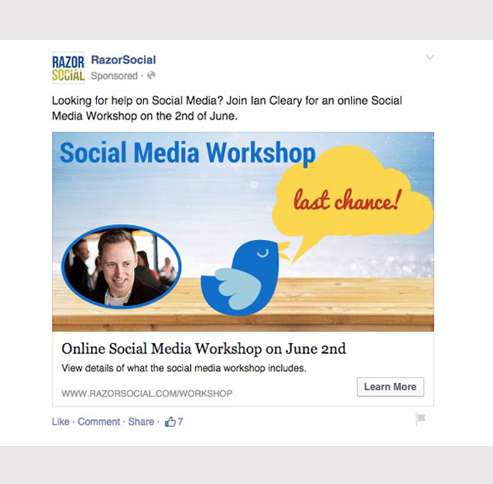 Example of facebook ad- jb-company-page-event-ad
