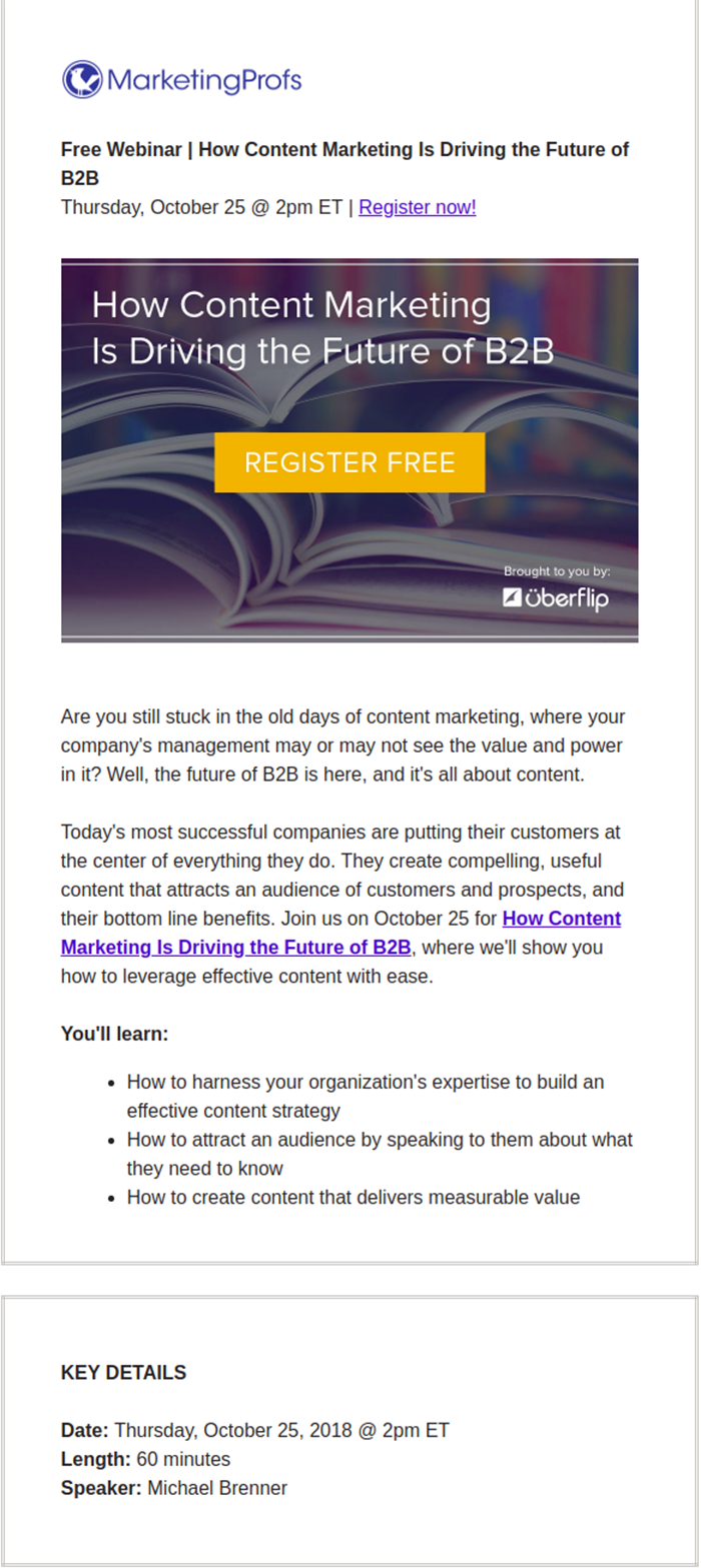 Email example of hosting a webinar