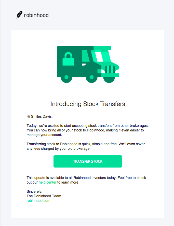 Example of new service launch email