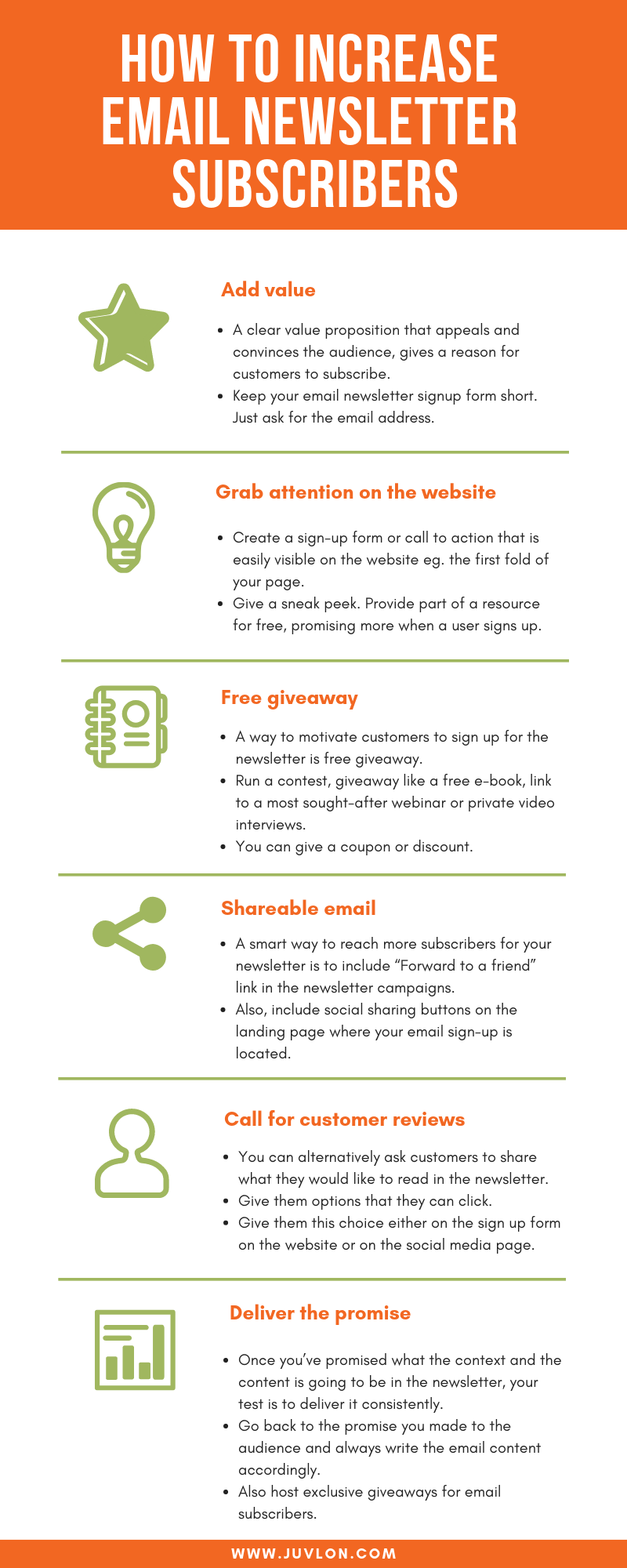 Infographics on tactics to increase email newsletter subscribers