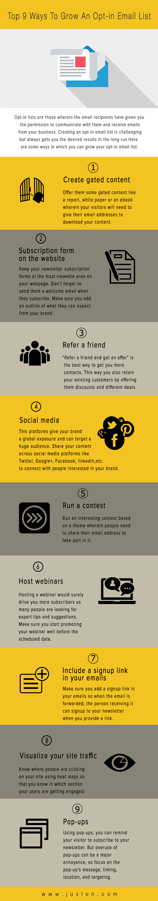 Infographic- Ways to grow an op-in email list